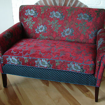 Salon Settee in Red Wine by Mary Lynn O'Shea (Upholstered Settee) | Artful Home