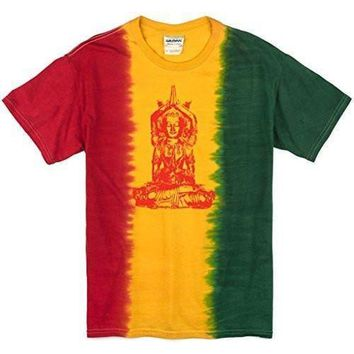 Yoga Clothing for You Mens Red Tara Rasta Tie Dye T-Shirt