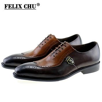 FELIX CHU Italian Lace Up Men Genuine Leather Men Wedding Wingtip Brogue Formal Dress Party Office Brown Oxford Shoes 1815-01