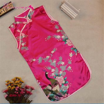 Chinese Qipao Girls Dress Kids Baby Child Dress Summer Elegant Floral Peacock Cheongsam
