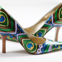 Peacock Lady Pumps - Hand painted Heels