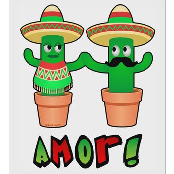 "Fiesta Cactus Couple Amor 9 x 10.5"" Rectangular Static Wall Cling by TooLoud"
