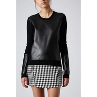 Black PU Leather Long-Sleeve Pullover