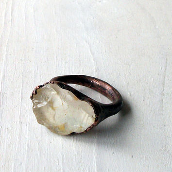 Copper Ring Topaz Crystal Cream Nougat Gem Stone by MidwestAlchemy