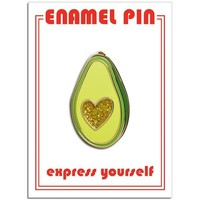 THE FOUND PIN - AVOCADO GLITTER HEART