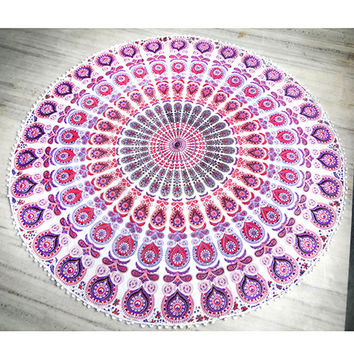 white Mandala Round beach throw, mandala Table cover ,Bed throw ,mandala yoga mat ,round beach towel ,hippie,