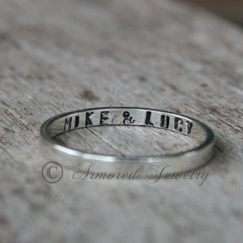 Sterling Silver Names Band Ring - Personalized Couples Names - Stacking Stacker Stackable ring