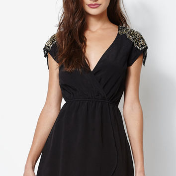 Kendall and Kylie Asymmetrical Embellished Surplice Dress at PacSun.com