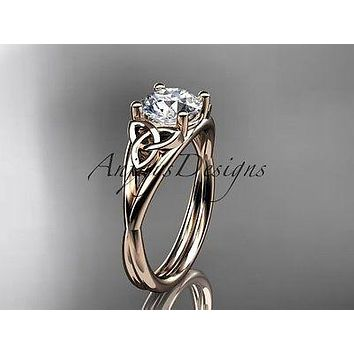 14kt rose gold celtic trinity knot wedding ring, engagement ring CT7189