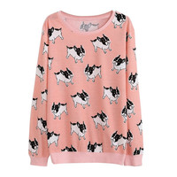 Loose Sweater Autumn Women Pullovers Thin Cotton Animal Ice Cream Dog Print
