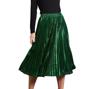 Women Metallic Pleated A-Line Midi Skirt