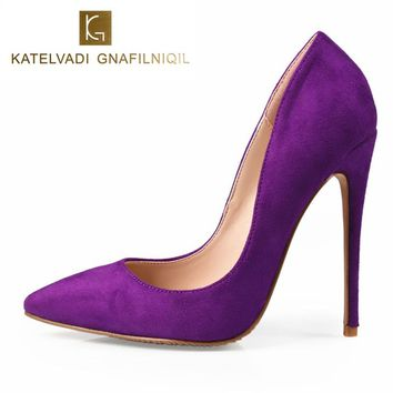 Sexy Purple Shoes Woman High Heels Pumps Stilettos Womens Shoes High Heels Sexy 12CM Ladies Heels Wedding Shoes For Woman K-011