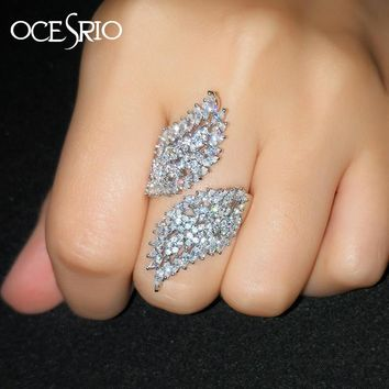 OCESRIO Luxury Zirconia Silver Feather Rings for Women Finger Open Adjustable Ladies Womens Rings jewelry Jewellery rig-f66