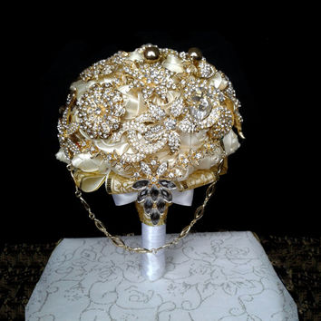 Gold Brooch Bouquet Hand Wedding Bridal