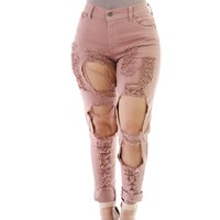 Cut Out Rough Holes Long Elastic Skinny Pants Jeans