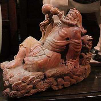 Beautiful Detailed Chinese Stone Hand Carved Monk Drinking Character w Foo Dog