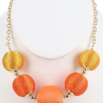 Orange Color Cord Wrapped Chunky Ball Bib Necklace