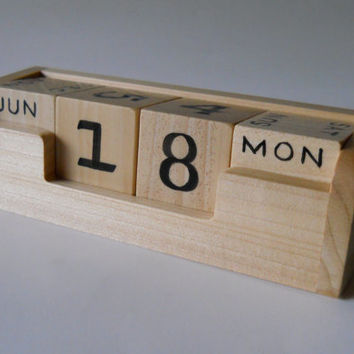 Perpetual Calendar, Office, Desk, Counter, Table Top, Wooden Block Calendar