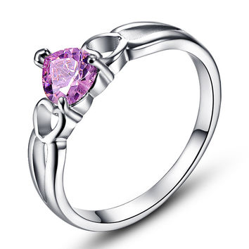 JROSE Love Solitaire Heart Wedding Ring for Women set 18K White Gold Plated Pink Topaz Annulus