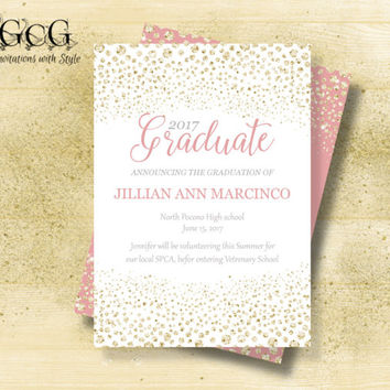 Graduation invitations Pink and Gold Graduation invitations class of 2017 Senior invitations Graduation invite for girls Printable Grad