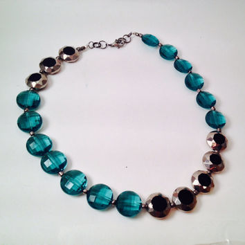 Gunmetal and teal statement beaded short necklace