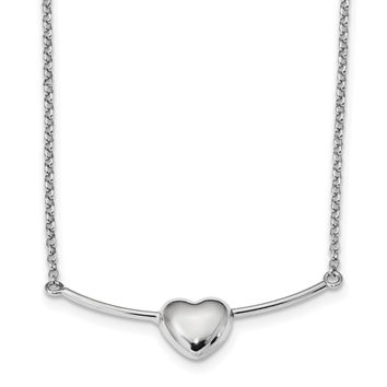 Sterling Silver Rhodium-plated Polished Puffed Heart on Bar Necklace QG4602