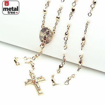 "Jewelry Kay style NEW White Rose Gold Plated 4mm Bead Guadalupe Jesus Cross 25"" Rosary HR 700 RGWH"
