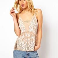 ASOS Premium Cami With Fringe Detail And Beaded Embellishment - Nude