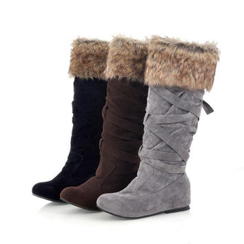 Womens Edgy Strapped Trendy Winter Boots