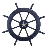 Wooden Starfish Rustic Dark Blue Decorative Ship Wheel 30""