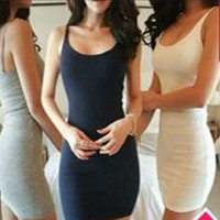 Knit Plain Strappy Bodycon Dress