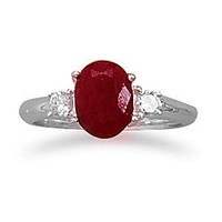 Ruby Ring With CZ Accents