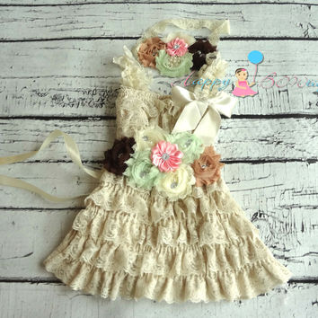 1c3501dd239 Country Flower girls dress  Champagne Minty Pink Girl s Lace Dre