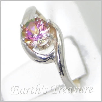 RARE - Gizmo Mystic Fire Topaz Ring 1/2ct Crescent Swirl Wedding Ring in Sterling Silver Solitaire Engagement Ring Sized 2-16 MTO