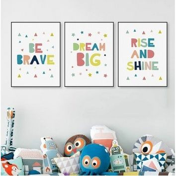 Minimalist Colorful Brave Dream Quotes Big Canvas Poster Print Nursery Wall Art Kids Baby Room Decor Painting No Frame