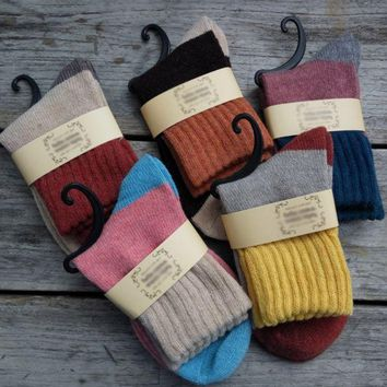DCCKB62 5 Pairs Women Wool Cashmere Thick Warm Soft Solid Casual Sports Socks Winter