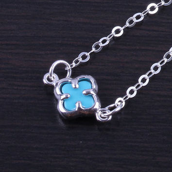 "Clover Necklace, Turquoise Clover Pendant, Silver Clover necklace, flower necklace, lucky necklace, tiny silver clover, ""Turquoise Clover"""