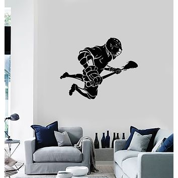 Vinyl Wall Decal Lacrosse Player Stick Sport Game Room Interior Stickers Mural (ig5988)