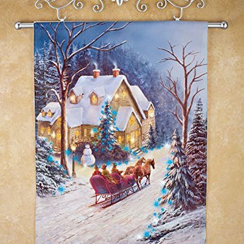 Sleigh Ride Winter Snow Christmas Holiday Lighted Wall Art Decor Hanging Canvas