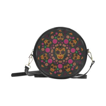 Psylocke High-grade PU Leather Round Messenger Bag with Sugar Skull Print