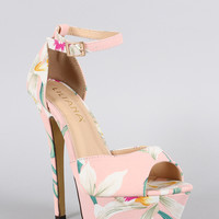 Liliana Floral Ankle Strap Stiletto Platform Pump