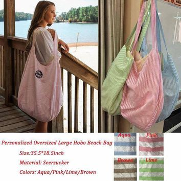 Seersicker Hobo Beach Bag