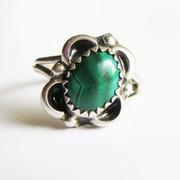 Vintage Navajo Sterling Silver Malachite Flower Ring, Signed, Size 5.75