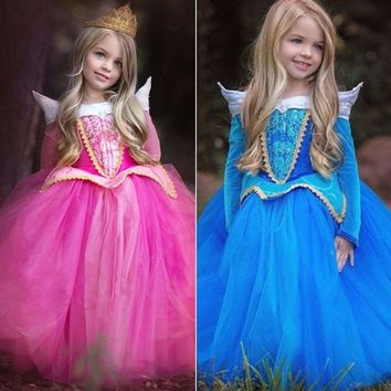 Kids Girl Sleeping Beauty Princess Dress