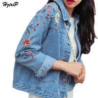 Plus Size Flower Embroidery Delicate Denim Jacket Casual High Quality Fashion Spring Autumn 2017 New Arrival  chaquetas mujer