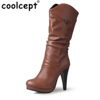 Women Water Proof High Heel Mid Calf Boots Woman Sexy Round Toe Heels Shoes Good Quality Half Short Botas Feminina Size 32-46