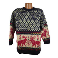 Ugly Christmas Sweater Vintage 1980s Eddie Bauer  Holiday Tacky Xmas Party Women's size XL