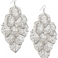 Silver Tone Large Dangling Leaves Earring