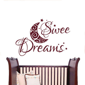 Wall Decals Sweet Dreams Decal Vinyl Sticker Month Star Window Nursery Children Bedroom Hall Home Decor Dorm Interior Art Murals MN511