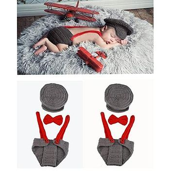 Newborn Baby Girl Boy Lovely Knit Hat + Bow Tie + Overall Photography Prop Suit
